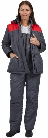 products/Куртка зимняя женская Снежана (тк.Дюспо), т.серый/красный