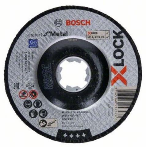 Bosch 2608608Y14 Pack de 5 Disques abrasive F550 125 mm 60