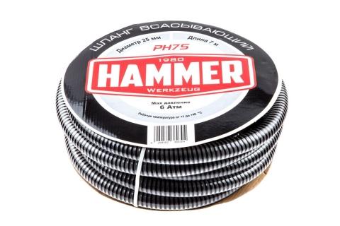 """products/593418 Шланг всасывающий Hammer PH7S длина 7 м, диаметр 25 мм, 1"""", обратный клапан с фильтрующей сеткой"""
