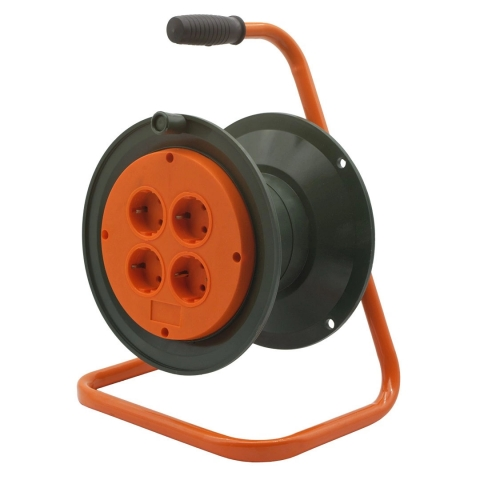 products/Катушка без провода GLANZEN 4 штепс. гнезда с заземл. c пружинным блоком Ф210мм арт. ЕК-06-210