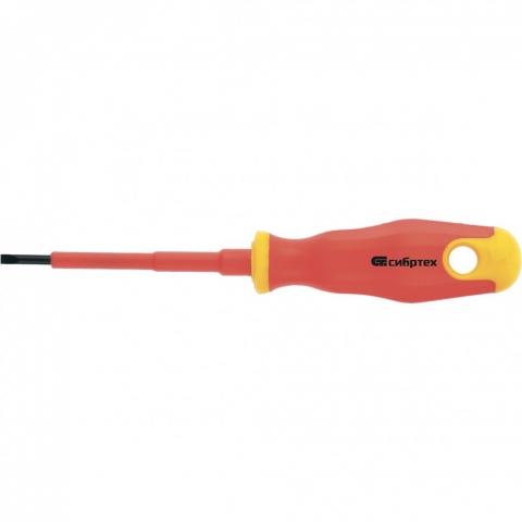 products/Отвертка диэлектрическая SL5,5 х 125 мм, CrV, до 1000 В, двухкомпонентная рукоятка// Сибртех, 12933