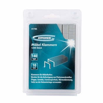 products/Скобы, 10 мм, для мебельного степлера, усиленные, тип 140, 1250 шт. GROSS