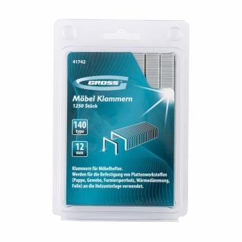 products/Скобы, 12 мм, для мебельного степлера, усиленные, тип 140, 1250 шт. GROSS