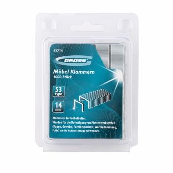 products/Скобы, 14 мм, для мебельного степлера, усиленные, тип 53, 1000 шт. GROSS