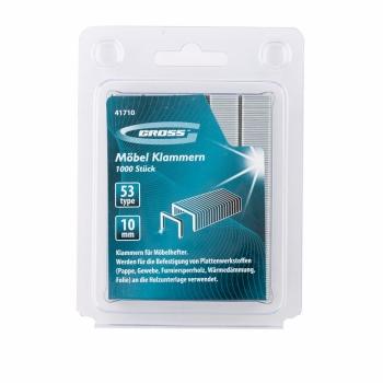 products/Скобы, 10 мм, для мебельного степлера, усиленные, тип 53, 1000 шт. GROSS
