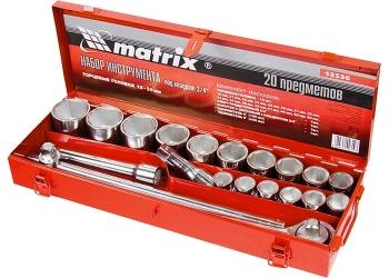products/Набор торцевых головок, квадрат, 3/ дюйма, головки 19 х 50 мм, 20 предм., в метал. боксе MATRIX