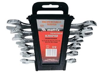 products/Набор ключей рожковых, 6 х 17 мм, 6 шт., CrV, хромированные MATRIX 15231