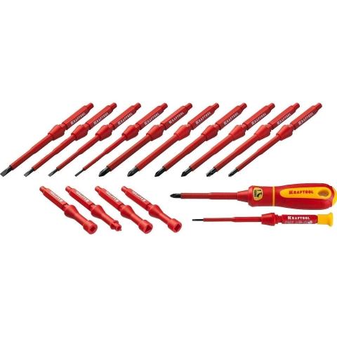 products/Набор Х-Drive ELECTRO: Высоковольтные отвертки, сменные стержни, ключи специальные, до 1000В, 18 предм, KRAFTOOL 220092-H18