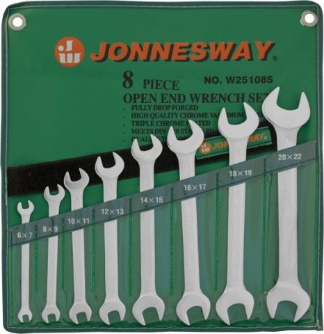 products/W25108S Jonnesway Набор ключей гаечных рожковых в сумке, 6-22 мм, 8 предметов