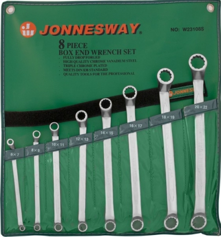 products/W23108S Jonnesway Набор ключей гаечных накидных изогнутых 75° в сумке, 6-22 мм, 8 предметов