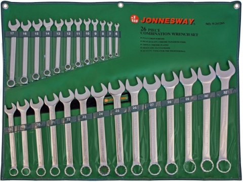 products/W26126S Jonnesway Набор ключей гаечных комбинированных в сумке, 6-32 мм, 26 предметов