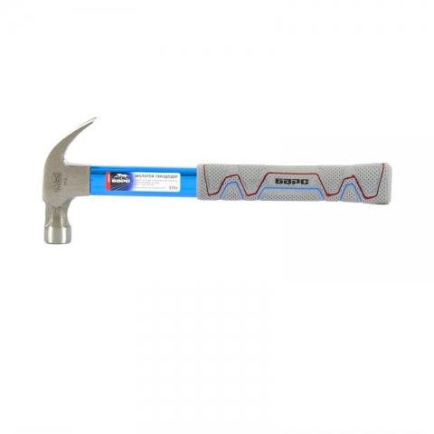 products/Молоток-гвоздодер,370г боек с магнитом, фибергласовая обрезиненная рукоятка, алюминиевая защита, Барс, 10448
