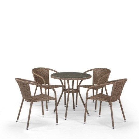 products/Комплект мебели  (иск. ротанг)  4+1 T282ANT/Y137C-W56 Light Brown 4Pcs