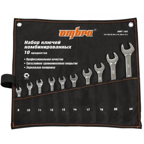 products/OMT10S Набор ключей гаечных комбинированных в сумке Ombra, 8-24 мм, 10 предметов