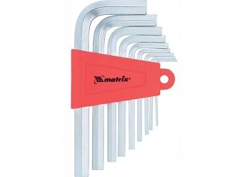 products/Набор ключей имбусовых HEX, 1,5–10 мм, CrV, 9 шт., коротких, с сатиновым покрытием MATRIX