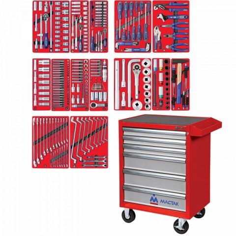 """products/52-06299R, МАСТАК Набор инструментов """"ПРОФИ"""" в красной тележке, 299 предметов"""