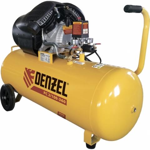 products/Компрессор воздушный Denzel NEW PC 2/100-360, 2,3 кВт, 360 л/мин, 100 л, 10 бар, прямой привод, масляный (арт. 58078)