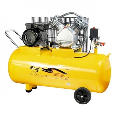 products/Компрессор воздушный Denzel PC 2/100-370, 2,2 кВт, 370 л/мин, 100 л, 8 бар, ременной привод, масляный (арт. 58091)