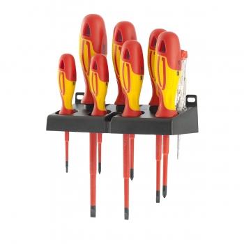 products/Набор отверток диэлектрических до 1000В, тестер, CrMo, двухкомпонентные рукоятки (8шт.) GROSS 12950