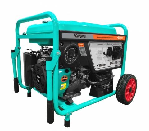 products/PG8780NE Бензогенератор Sturm!, 8000 ВА, AVR (Авто. Рег.Напр.), эл/ручн старт, 77 кг, бак 25л