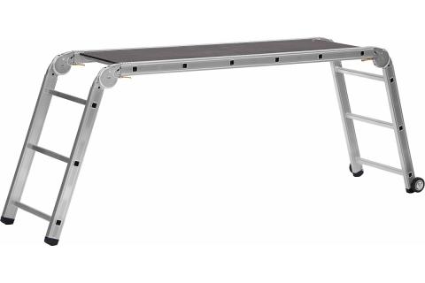 products/СИБИН ПРП-36 профессиональные рабочие подмости, 3 x 6 x 3 ступени, алюминиевые, складные с колесами и съемной площадкой 38845