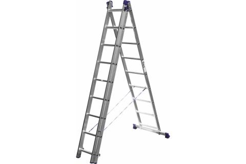 products/Лестница СИБИН универсальная, трехсекционная со стабилизатором, 9 ступеней 38833-09