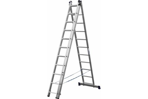 products/Лестница СИБИН универсальная, трехсекционная со стабилизатором, 11 ступеней 38833-11