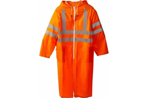products/Плащ-дождевик ЗУБР 11617-56, сигнальный цвет, нейлоновый на молнии, размер 56-58 11617-56