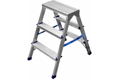 products/Лестница-стремянка двухсторонняя алюминиевая, СИБИН 38825-03, 3 ступени 38825-03