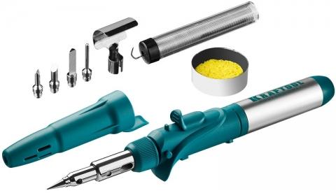 """products/Набор KRAFTOOL """"PRO"""": Паяльник газовый, 3в1, пьезоподжиг, 5 насадок, припой, защитный колпачок, чистка жал, 1300С, 55503-H10"""