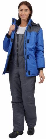 products/Куртка зимняя женская Снежана (тк.Дюспо), васильковый/т.серый