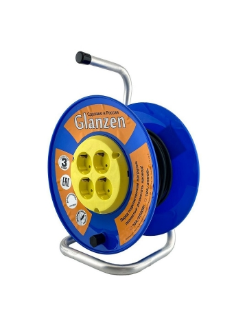 products/Удлинитель силовой на катушке GLANZEN 4 гн. ПВС 3х0,75 арт. EB-40-018