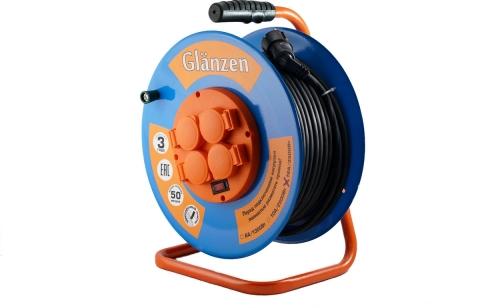 products/Удлинитель силовой на катушке GLANZEN 4 гн. КГ 3х2,5 арт. ЕВ-50-010