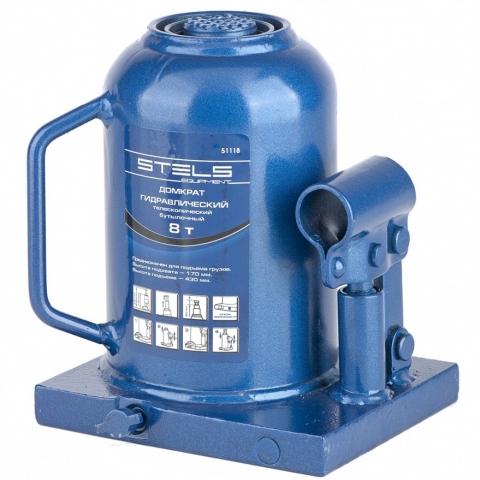 products/Домкрат гидравлический бутылочный телескопический, 8 т, H подъема 170-430 мм Stels (51118)