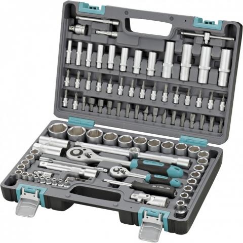 products/Набор инструментов, 1/2, 1/4, CrV, пластиковый кейс, 94 предмета Stels (14106)