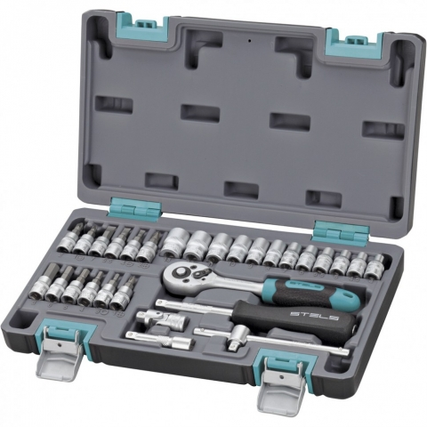 products/Набор инструментов, 1/4, CrV, пластиковый кейс, 29 предметов Stels (14100)