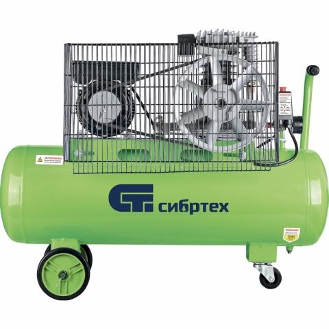 products/Компрессор воздушный СибрТех КК-2200/100, 2,2 кВт, 350 л/мин, 100 л, ременной привод, масляный (арт. 58042)