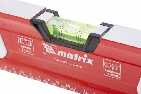 products/Уровень алюминиевый, магнит, фрезерованный, 3 глазка (1 зеркал.), 2 компонентные рукоятки, 1000 мм MATRIX