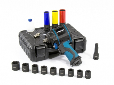 "products/Гайковерт пневматический ударный GROSS G985K2 1/2"" Twin Hammer 610Нм 9000 об/мин с набром 17 предметов (арт. 57445)"