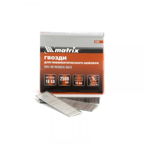 products/Гвозди 16GA для пневматического нейлера сечение 1,6х1,4, длина 19 мм, 2500 шт. MATRIX