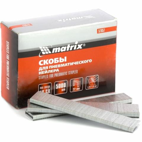 products/Скобы 18GA для пневматического степлера 1,25х1,0 мм длина 22 мм ширина 5,7 мм, 5000 шт. MATRIX