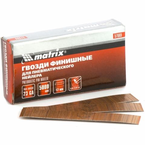 products/Гвозди финишные (шпильки) 23GA для пневматического нейлера финишного диаметр 0,64 мм длина -12 мм, 5000 шт. MATRIX