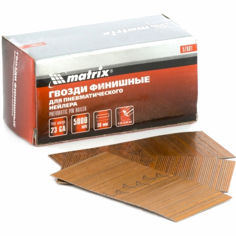 products/Гвозди финишные (шпильки) 23GA для пневматического нейлера финишного диаметр 0,64 мм длина -30 мм, 5000 шт. MATRIX