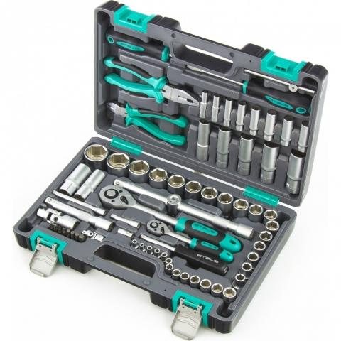 products/Набор инструментов, 1/2, 1/4, CrV, пластиковый кейс, 69 предметов Stels (14108)