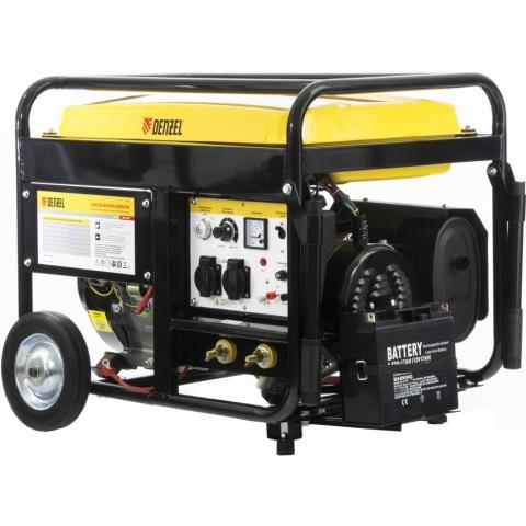 products/Бензиновая сварочная генераторная установка WG 210Е, 5,0 кВт, 220В, бак 25 л, электростартер DENZEL