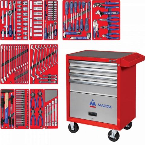 """products/52-04205R, МАСТАК Набор инструментов """"МАСТЕР"""" в красной тележке, 205 предметов"""