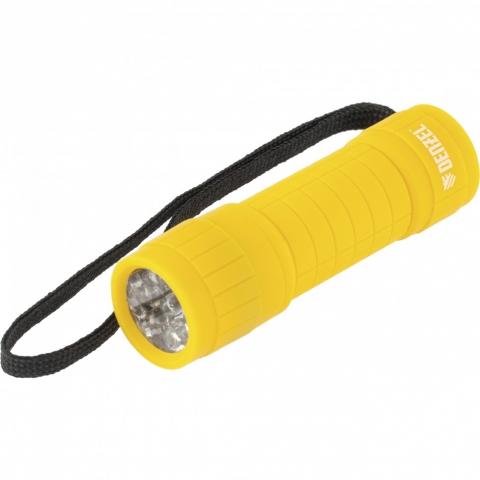 products/Фонарь светодиодный, желтый корпус с мягким покрытием, 9 Led, 3хААА Denzel, 92613