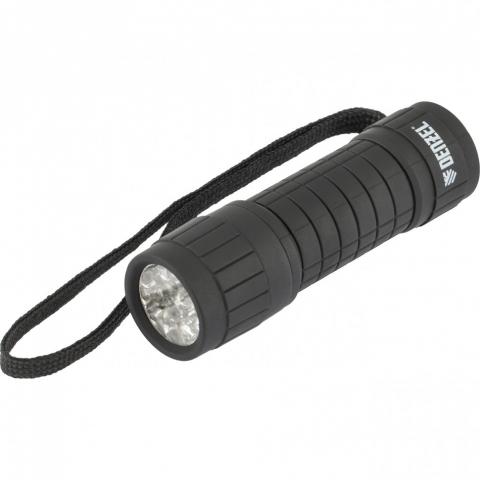 products/Фонарь светодиодный, черный корпус с мягким покрытием, 9 Led, 3хААА Denzel, 92610