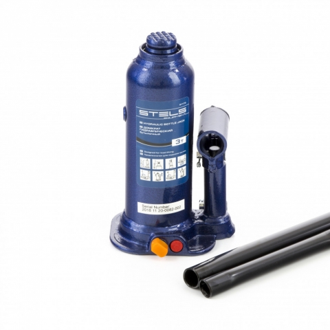 products/Домкрат гидравлический бутылочный, 4 т, h подъема 188-363 мм, в пластиковом кейсе Stels (51174)