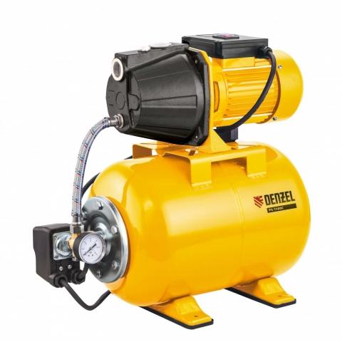products/Насосная станция PS1100С, 1100 Вт, 4500 л/ч, ресивер 24 л, подъем 46 м, чугун Denzel (97215)